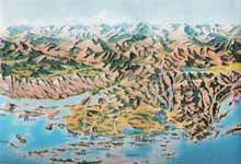 Map 1 ) Panoramic relief map, Zadar HinterlandMap, R. Simrak Croatia The Thousand Islands of  the Croatian Adriatic, Croatian National Tourism Office Zagreb, 1995