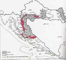 "Map 8 ) ""Pink Zones"" outside UNPA Sectors, in Serbian-occupied Croatia 1992, Croatia 1994, Ed. Baletic, M., Nationalna I sveucilisna biblioteka, Zagreb , 1994"